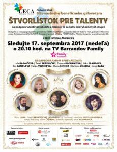 Sledujte galavečer Štvorlístok pre talenty 2017 v nedeľu 17.septembra 2017 o 20.10 hod. na TV Barrandov Family