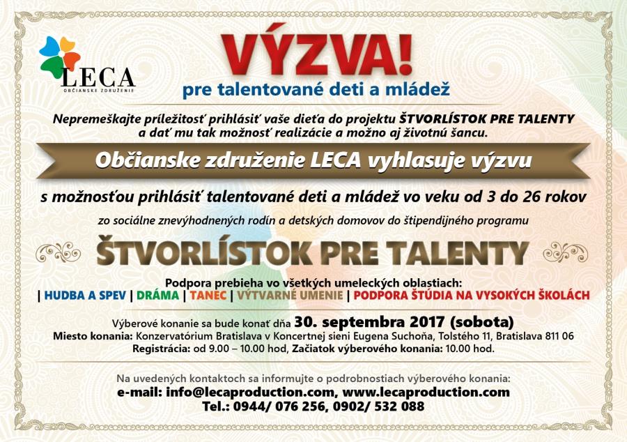 VÝZVA! Občianske združenie LECA vyhlasuje výzvu s možnosťou prihlásiť talentované deti a mládež zo sociálne znevýhodnených rodín a detských domovov zo SR a ČR do štipendijného programu Štvorlístok pre talenty 2018.