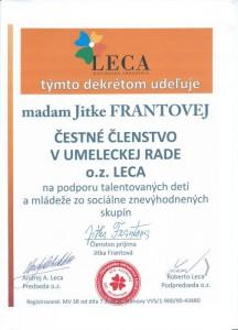 Čestné členstvo- herečka Jitka Frantová Pelikán