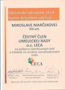 Čestné členstvo- operná speváčka, herečka a pedagóg Miroslava Marčeková