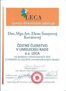 Čestné členstvo- prvá sl. dirigentka a VŠ pedagóg Elena Šarayová