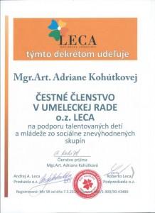 Čestné členstvo- sólistka Opery SND Adriana Kohútková