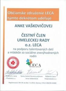 Čestné členstvo- tanečníčka a choreografka Anna Vaškovičová