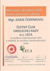 Čestné členstvo- umelecký pedagóg Darja Čerpáková