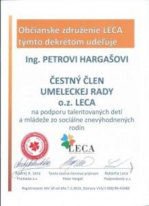 Čestné členstvo- výtvarník Peter Hargaš