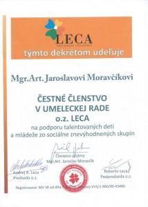 Čestné členstvo - choreograf, tanečník a režisér Jaroslav Moravčík