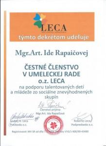 Čestné členstvo - herečka a VŠ pedagóg Ida Rapaičová
