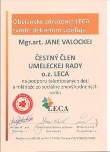 Čestné členstvo - herečka a pedagóg  Jana Valocká