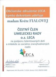 Čestné členstvo v umeleckej rade o.z. LECA - herečka Květa Fialová
