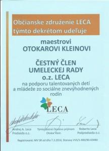 Čestné členstvo v umeleckej rade o.z. LECA - maestro Otokar Klein