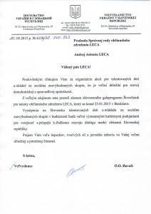 Letter from Ambassador of the Ukraina  H.E. Oleh Havaši