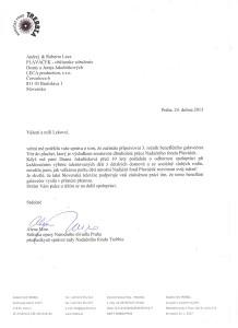 Referenčný list z Nadačného fondu TREBBIA