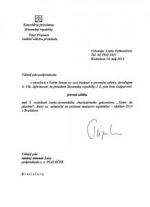 Záštita Prezidenta SR J.E. Ivana Gašparoviča nad 3.ročníkom galavečera Vietor do plachiet