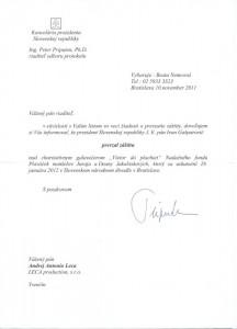 Záštita prezidenta SR J.E. Ivana Gašparoviča nad 2. ročníkom benefičného galavečera Vietor do plachiet