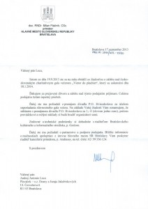 Záštita primátora Bratislavy Mila Ftáčnika nad 3.ročníkom galavečera Vietor do plachiet