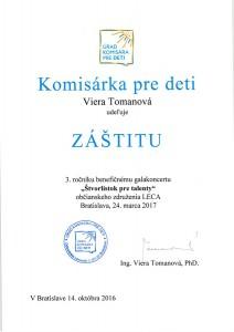 Záštita - Komisárka pre deti SR Viera Tomanová