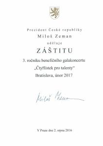 Záštita J.E. prezidenta ČR Miloša Zemana nad 3.ročníkom galavečera Štvorlístok pre talenty